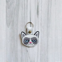 unhappy cat keychain