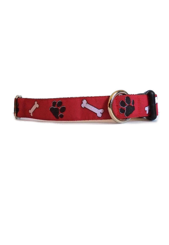 paws bones on red collar
