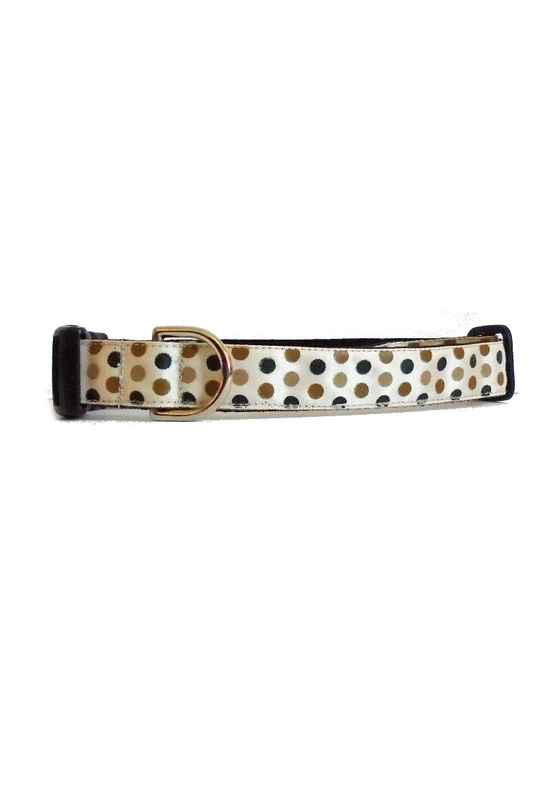 sparkly polka dots on tan collar